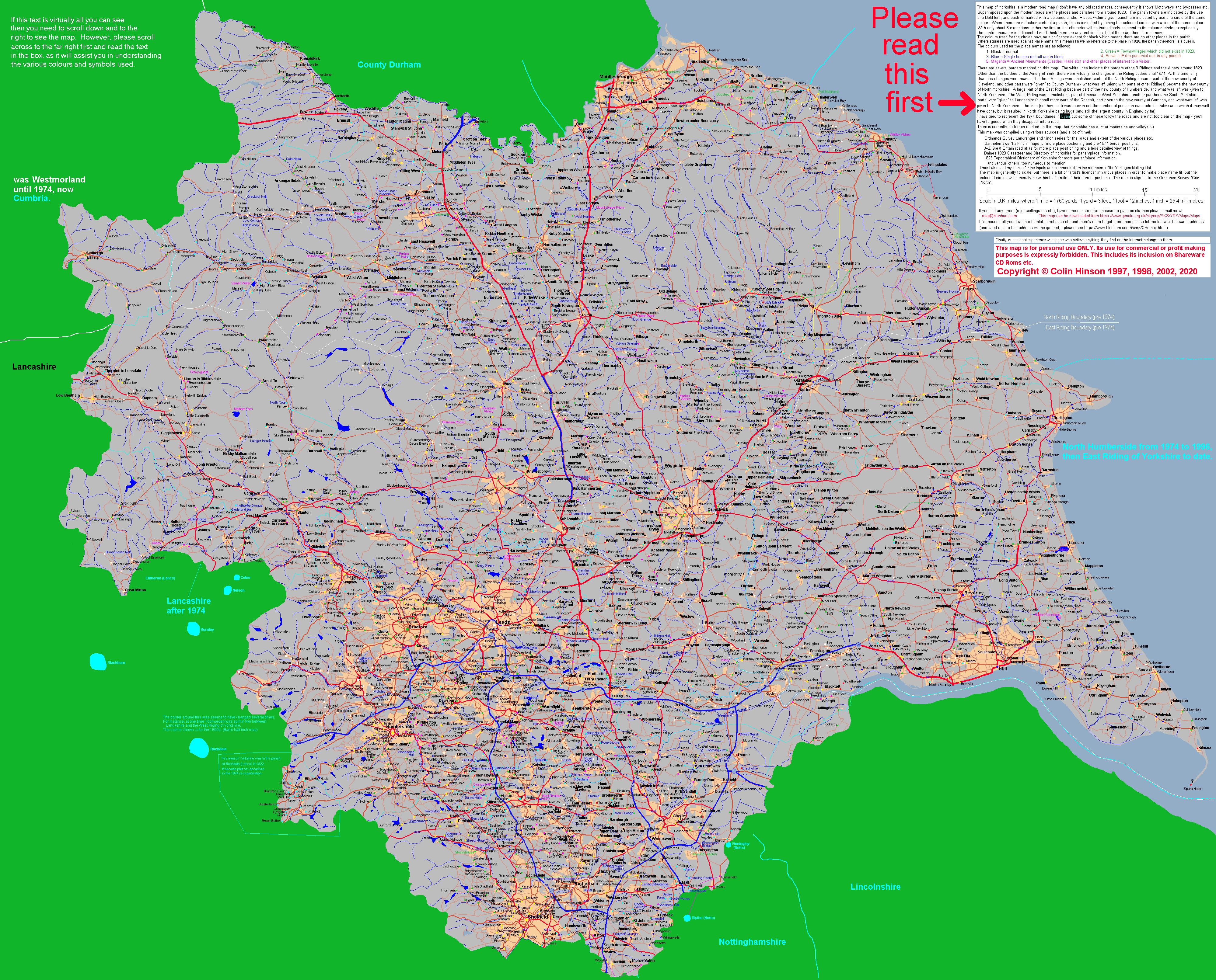 GENUKI: Maps of Yorkshire